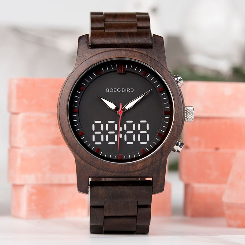 BOBO BIRD Watch Men Bamboo Wooden Wristatches Male black erkek kol saati Timepiece in gift box Engrave logo