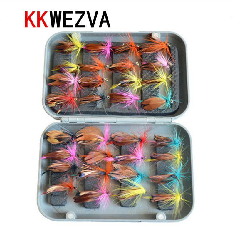 KKWEZVA 32 pièces avec boîte à mouches leurre de pêche à la mouche ensemble appât artificiel truite mouche leurres de pêche crochets de pêche attirail appât à insectes