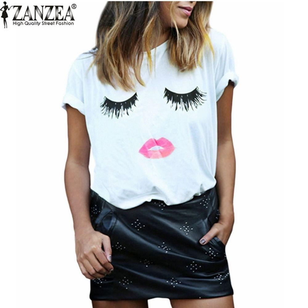 Zanzea New Arrival 2018 Summer Style Women Elegant Lashes Lip Print T Shirt Casual Loose Simple O Neck White Top Tees Blusas