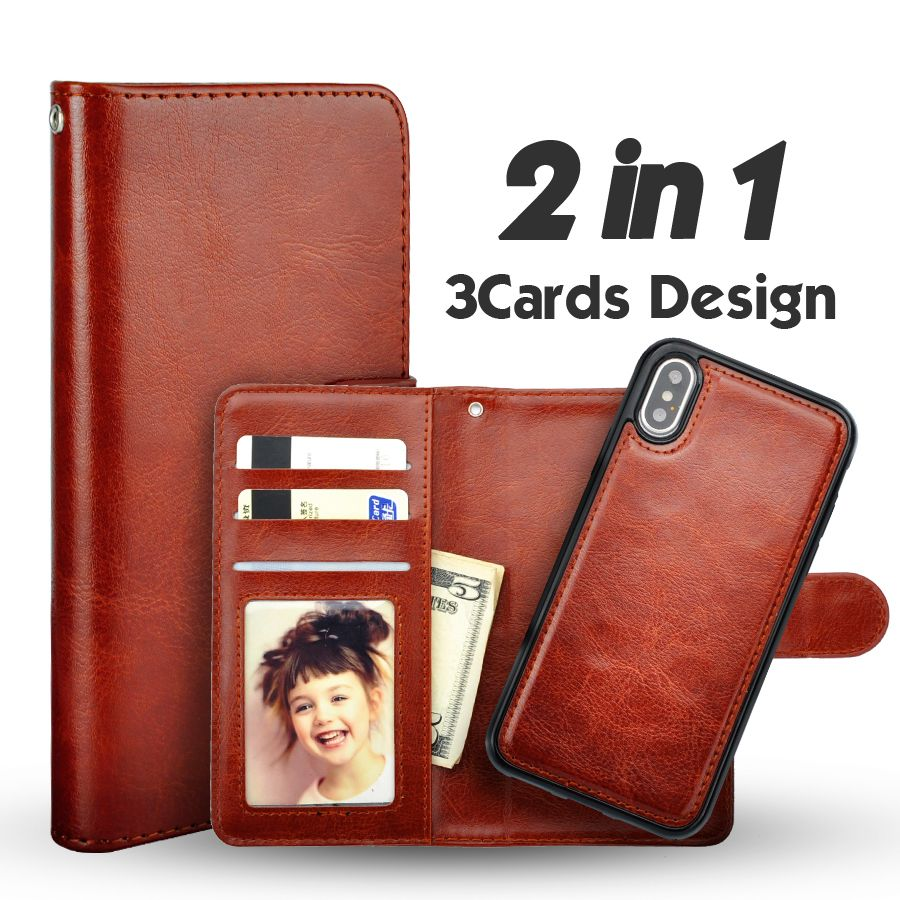 LANCASE Cover For iPhone X Case Leather PU Wallet Magnetic Detachable Flip Case For iPhone X 10 Case Thin TPU Card Slots Coque