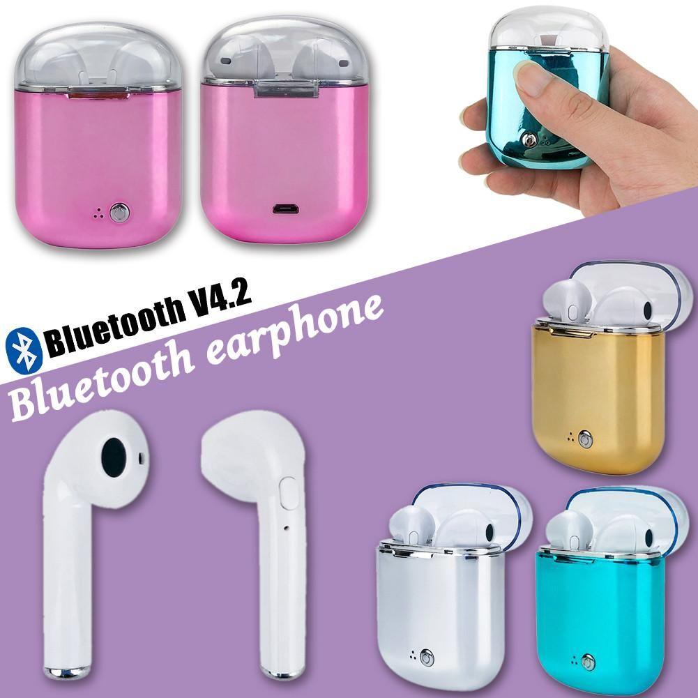 2018 New I7s Earphone Binaural Wireless Bluetooth Headset TWS Earphone with Charging Bin Plating Headphones for I7s Plus