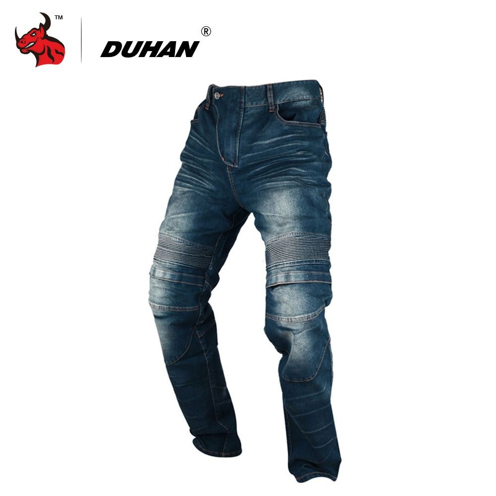 DUHAN Windproof Motorcycle Jeans Casual Pants Men's Motorbike Motocross Off-Road Knee Protective Moto Jeans Trousers