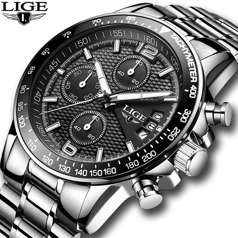Relogio Masculino 2018 New LIGE Mens Watches Top Brand Luxury Stopwatch Sport waterproof Quartz Watch Man Fashion Business Clock