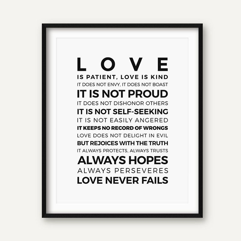 Love is Patient Kind Prints Poster Home Living Room Bible Verse Wall Art Canvas Painting Christian Print Home Decoration