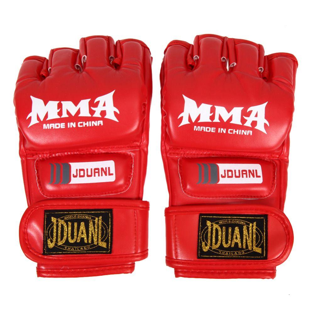 1 Para Unisex Muay Thai Boxhandschuhe für Gym Stanzen tasche Pu-leder Fitness-halbe Mitt Ausbildung Sparring Kick Bekämpfung handschuhe