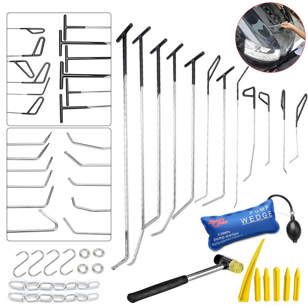 PDR Hook Tools Push Rod Black Car Crowbar Pump Wedge Paintless Dent Repair Tools PDR Kits Ding Hail Puller Set Ferramentas