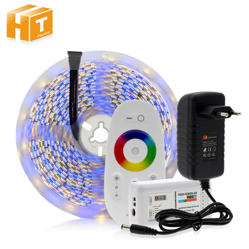 5050 LED Strip RGB / RGBW / RGBWW 5M 300LEDs Neon Tape Light + 2.4 G Remote Controller + DC 12V 3A Power Adapter