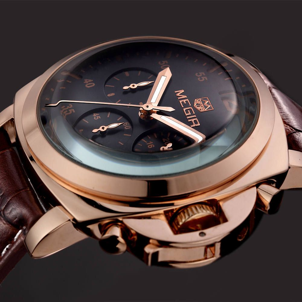 MEGIR Top Luxury Brand Men's Wrist Watch Mens Chronograph Luminous Clocks Men Male Gift Quartz Watches Military Army Sport Clock