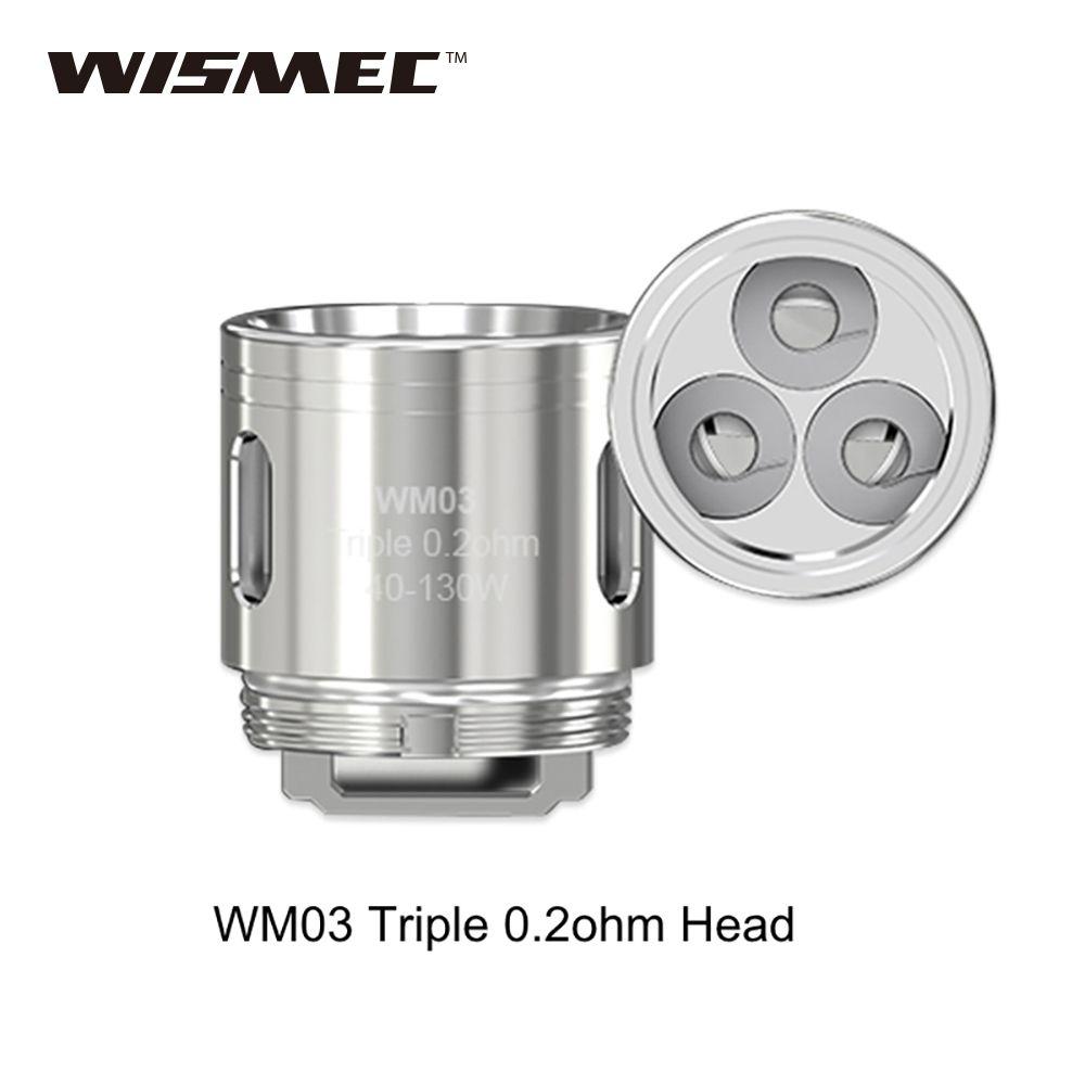 100% Original WM 5 stücke WISMEC Spulenkopf 0.4ohm WM01/0.15ohm WM02/0.2ohm WM03 Gnome Zerstäuber Kopf 40 Watt-130 Watt e-zigarette Spule