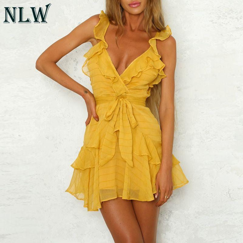 NLW profonde col en V jaune Sexy robe à volants Bow femmes robe vert solide décontracté bohème plage robe Vestidos