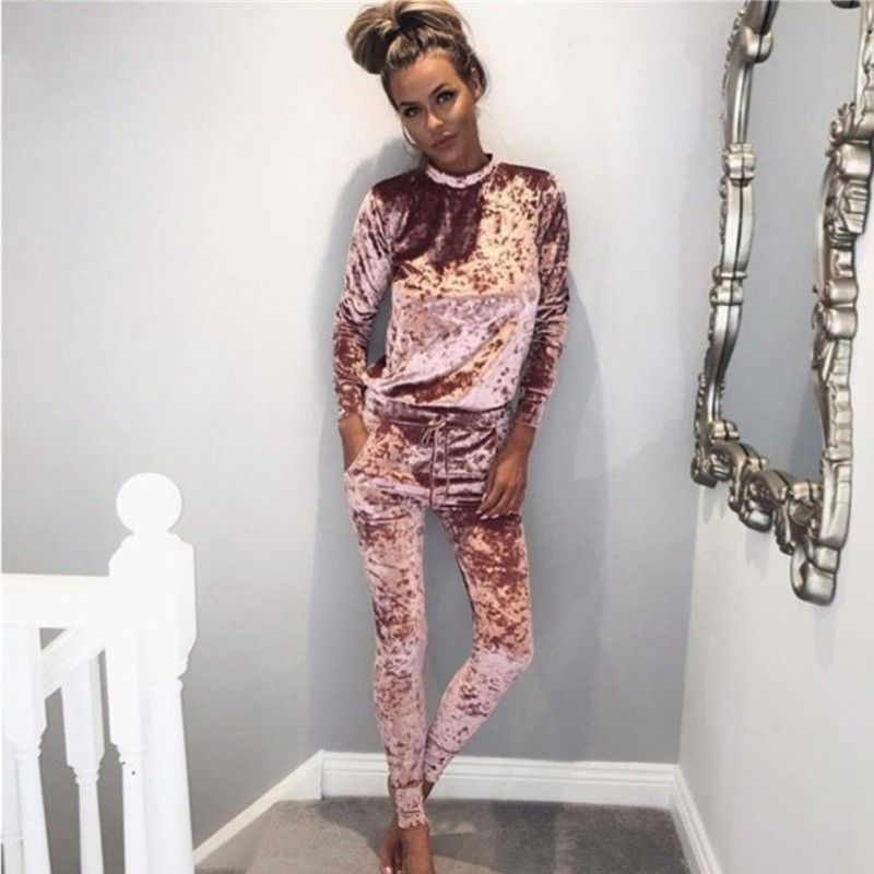 2016 Autumn Winter Fashion 2 Piece Set Tracksuit For Women Pants And Sweatsuit Tracksuit Velvet 5 Shining Colors women Suit