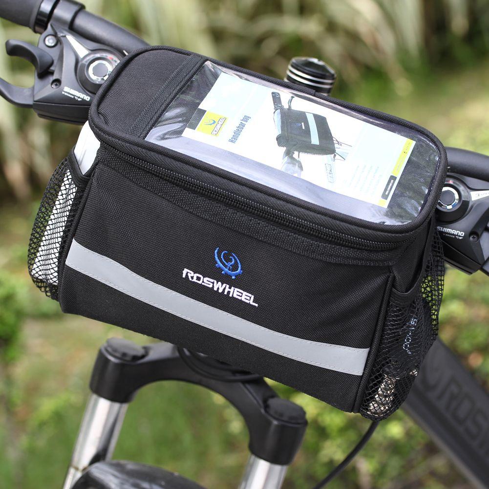 Noir De Recyclage de Bicyclette Sac Avant Amovible Chaleur Protection Pliable Vélo Guidon Sacs Pour Téléphone Bouteille Accessoires Vélo