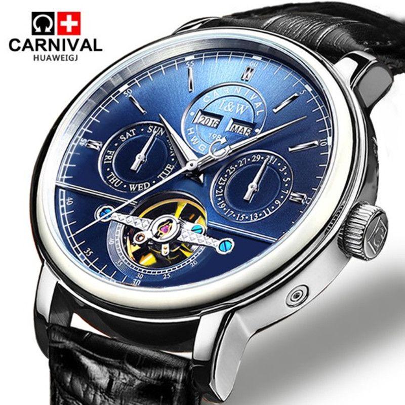 Tourbillon Mens Watches switzerland Carnival Luxury Brand Waterproof Automatic Mechanical Watch leather strap montre homme uhren