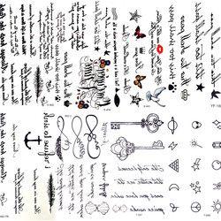 Seksi Bulu Kata-kata Hitam Huruf Tato Sementara Gadis Jari Lengan Tubuh Seni Gambar Tato Stiker Laki-laki Makeup Tangan Tato Anak-anak