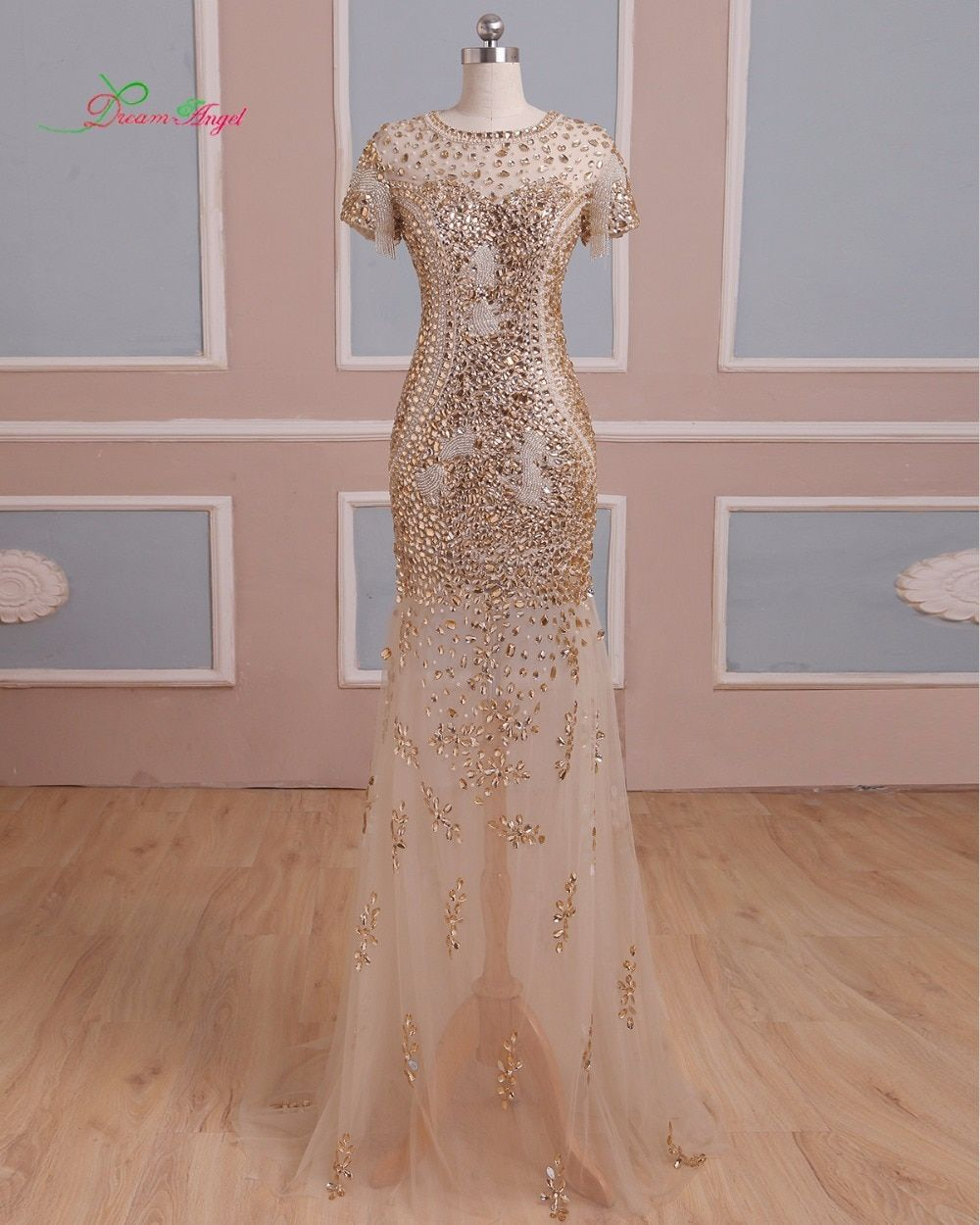 Dream Angel Elegant Beading Crystal Long Mermaid Prom Dresses 2018 Luxury Sweep Train Vintage Trumpet Vestido De Festa Plus Size