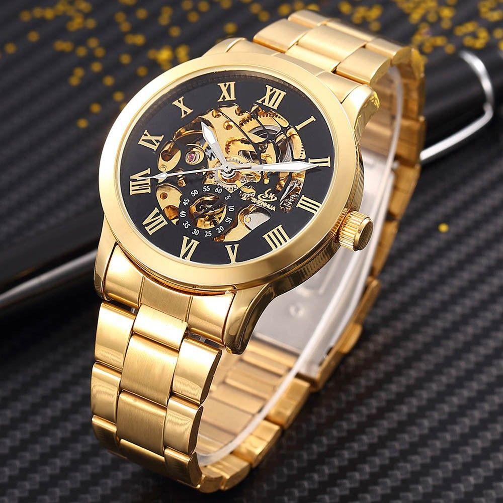 ShenHua Golden Skeleton Automatic Mechanical Watch Men Fashion Waterproof Shockproof Clock Mechanical Watch Men Men Watches