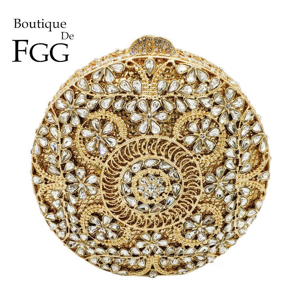 Boutique De FGG Vintage Retro Runde Rund Aushöhlen Frauen Kristall Kupplung Abend Schminktäschchen Tasche Hochzeit Handtasche Braut Handtasche
