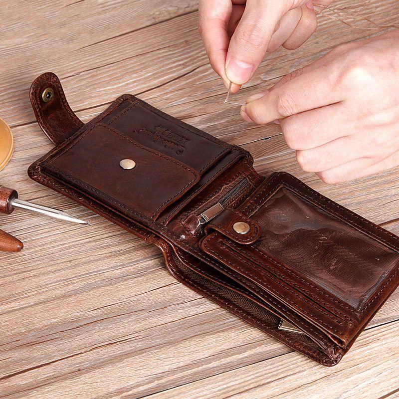 Légende du pavé en cuir de vachette véritable à deux volets embrayage en cuir véritable hommes portefeuilles courts porte-monnaie homme porte-cartes de crédit et d'identité
