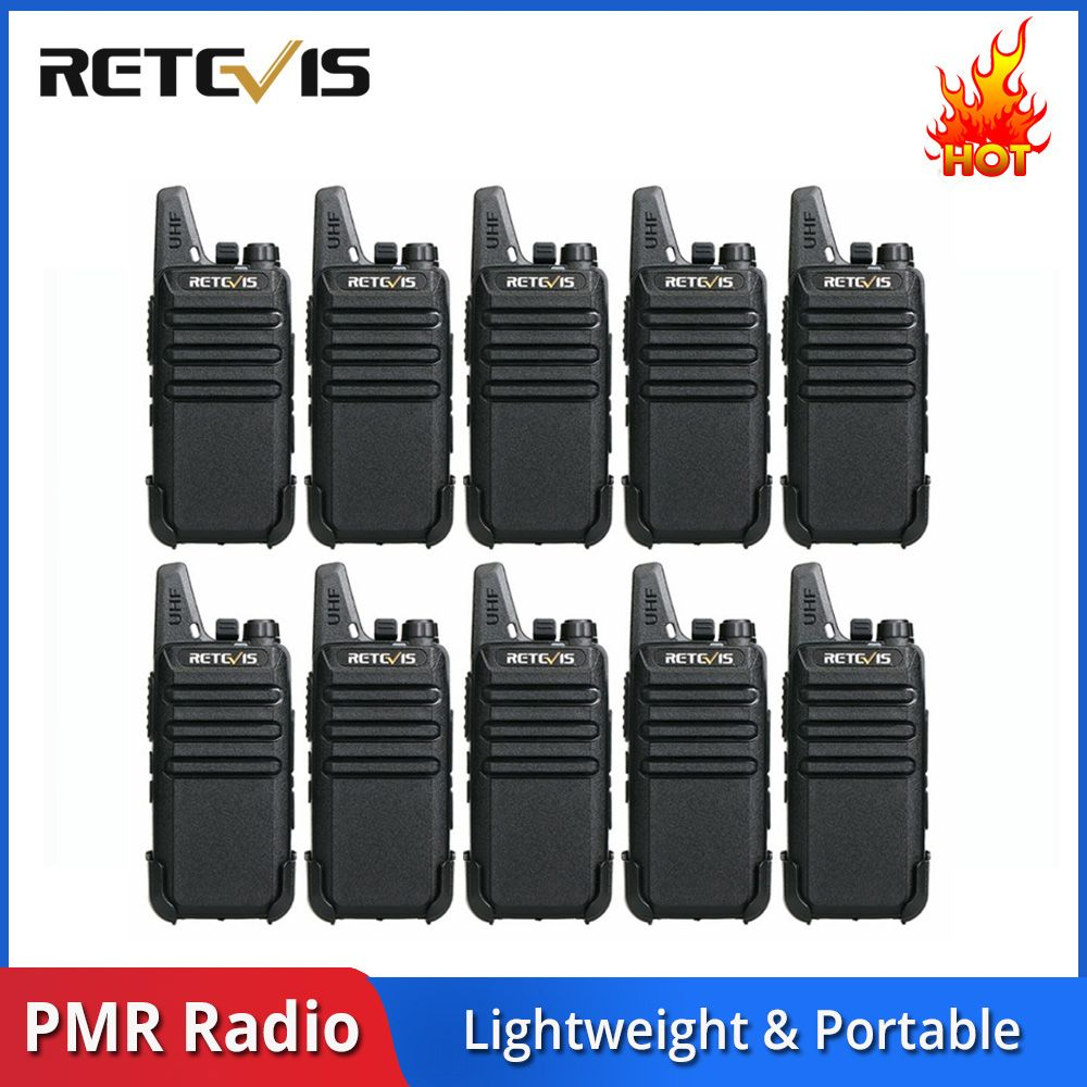 10 pcs Retevis RT622/RT22 Portable Walkie Talkie PMR PMR446 FRS VOX USB Two Way Radio Station Hotel/Restaurant Walkie Talkies