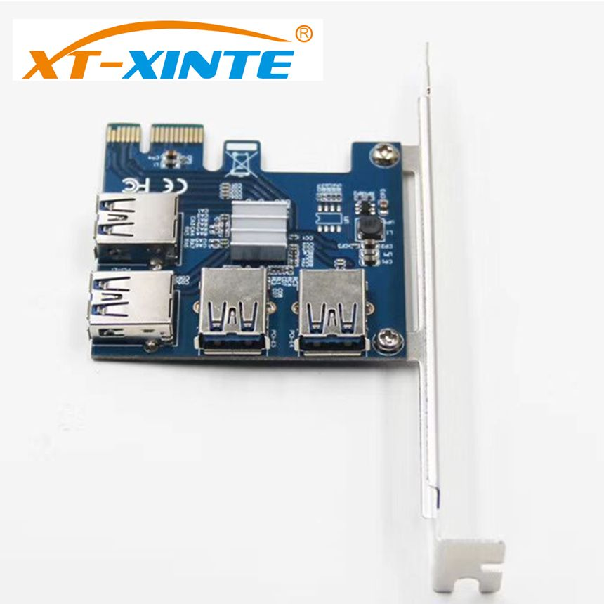 XT-XINTE Riser Card PCI-E USB 3.0 PCIe Port Multiplier Card PCI Express PCIe 1 to 4 PCI-E to PCI-E for BTC Miner Machine