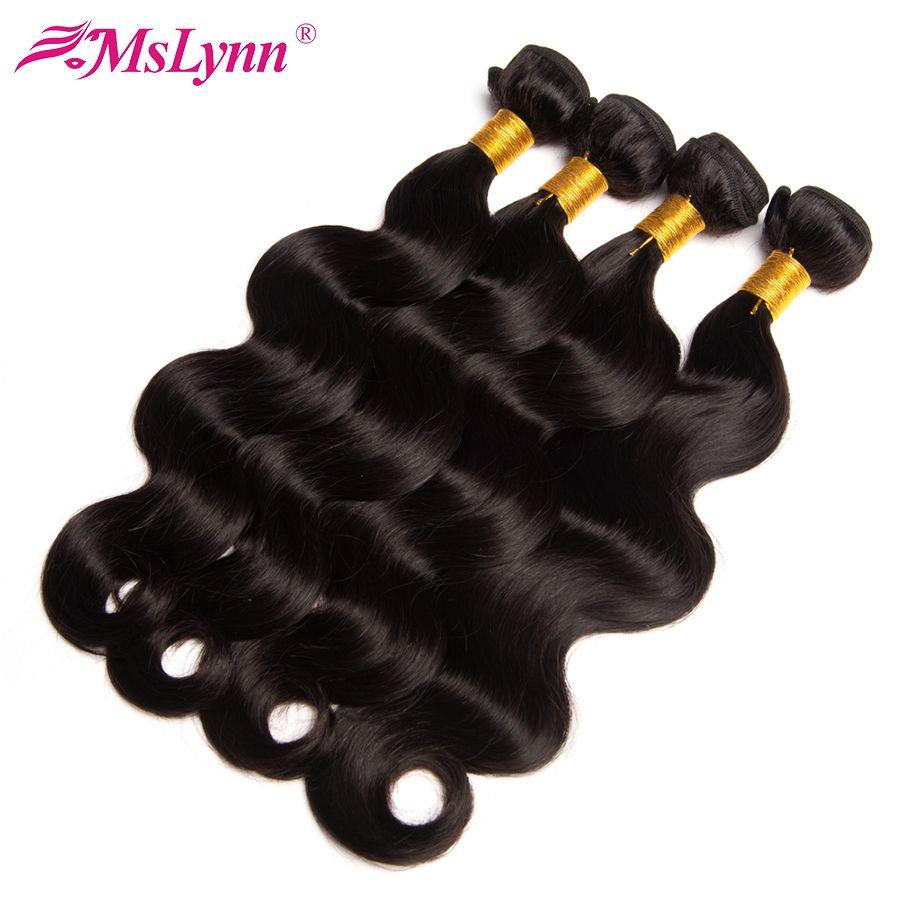 Vague de corps Bundles Péruvienne Cheveux Bundles de Cheveux Humains Bundles 1/4/3 Bundle Offres Mslynn Non Remy Cheveux weave Extension Natural Black