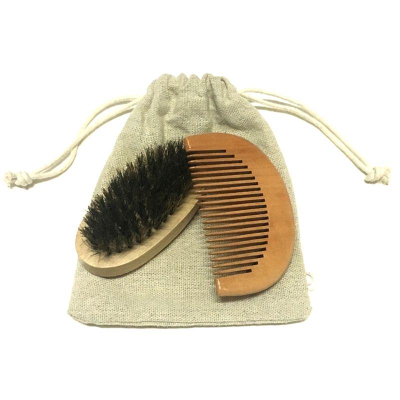 2 pièces/ensemble brosse à barbe et peigne & lotus bois bambou soins des cheveux style homme Gentleman brosse à poils modèle de barbe outils de toilettage