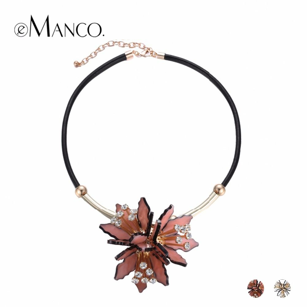eManco Trendy Acrylic Flower Statement Pendants Necklaces Women PU Leather Rhinestone Top Brand Chain Collar Necklace Jewelry