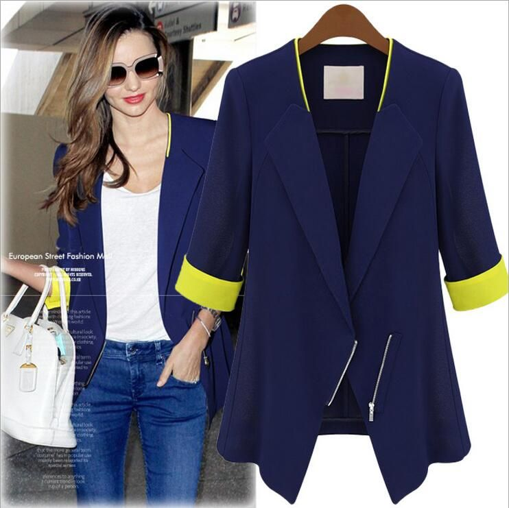 2017 Spring and Autumn Women's Suit Coat Hit Color Stitching Sleeves Suit Collar Blue and White Hit Yellow Slim Jacket FemaleE52