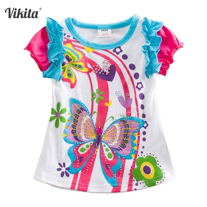 VIKITA filles T Shirt enfant T-shirt enfants vêtements papillon à manches courtes T-shirt hibou enfants T-shirts hauts pour filles S3916 MIX