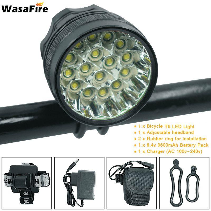 WasaFire 40000 Lumen 16 * T6 LEDs lampe de vélo avant phare équitation vélo avant lumière pour extérieur nuit équitation Camping