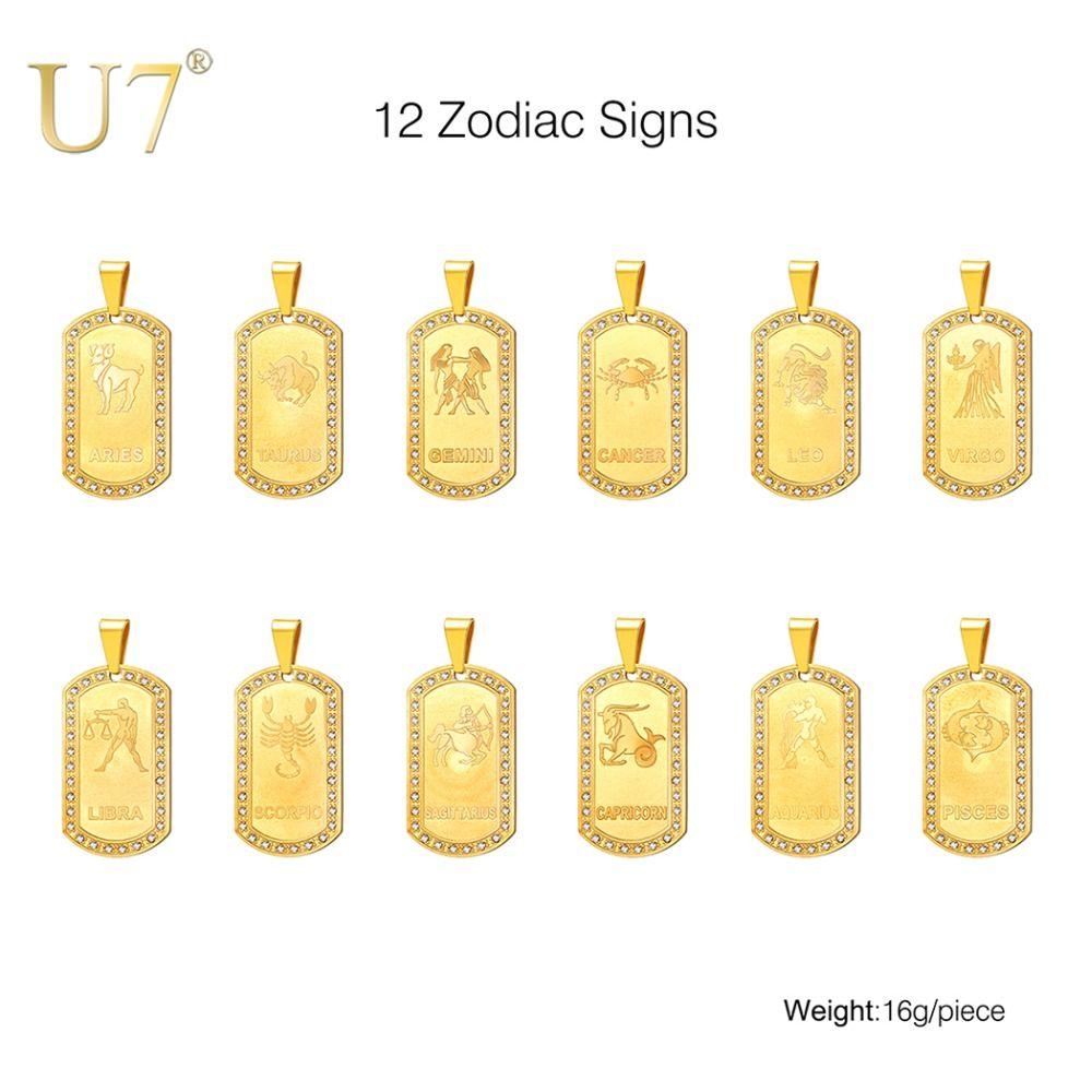 U7 zodiaque signes collier pour hommes/femmes meilleur ami chien étiquettes cadeau d'anniversaire couleur or acier inoxydable Cancer Constellations P693