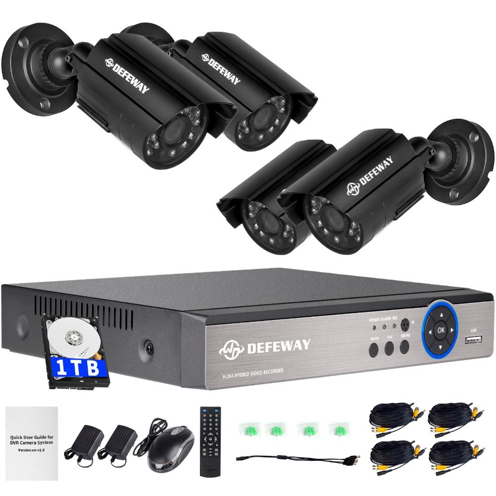 DEFEWAY 1080N DVR <font><b>1200TVL</b></font> 720P HD Outdoor Security Camera System 1TB Hard Drive 4CH DVR CCTV Surveillance Kit AHD Camera Set