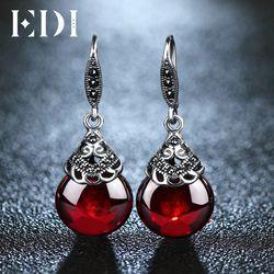 EDI ретро круглые драгоценные камни серьги гранат женский 100% Серебро 925 пробы Fine Jewelry