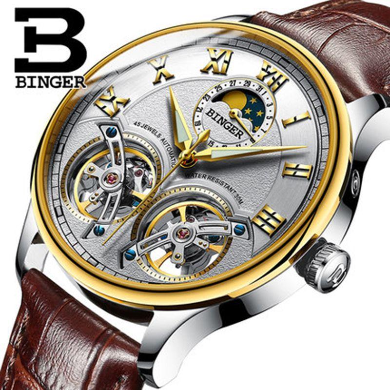 Genuine Switzerland BINGER Brand Men Self-wind waterproof full steel automatic mechanical male Hollow Luminous Tourbillon watch