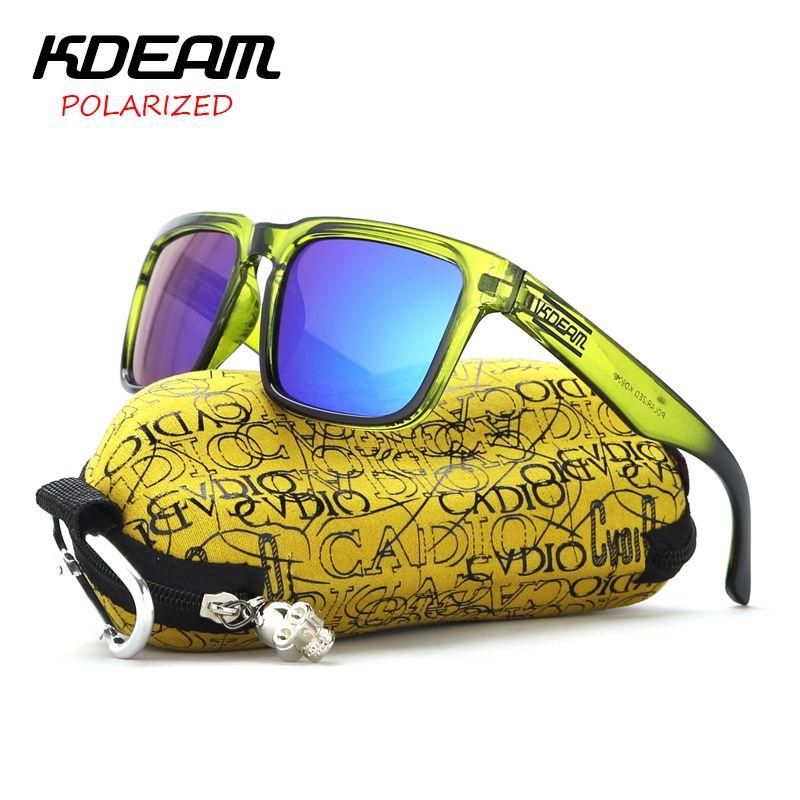 KDEAM lunettes de soleil polarisées hommes revêtement réfléchissant carré lunettes de soleil femmes marque Designer UV400 avec étui d'origine KD901P-C8