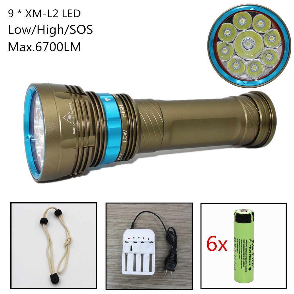 Waterproof Diving Flashlight 6700 Lumens 9x CREE XM-L2 LED White Light Underwater Scuba spearfishing Flashlight Torch