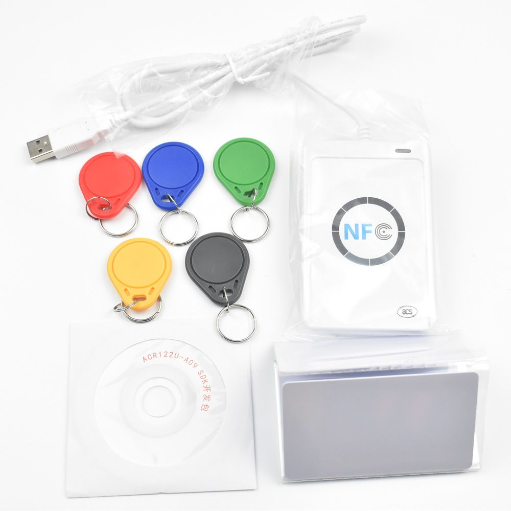 USB ACR122U NFC RFID Smart Card Reader Writer  + 5 pcs UID Cards +5pcs UID Tags+ SDK + M-ifare Copy Clone Software