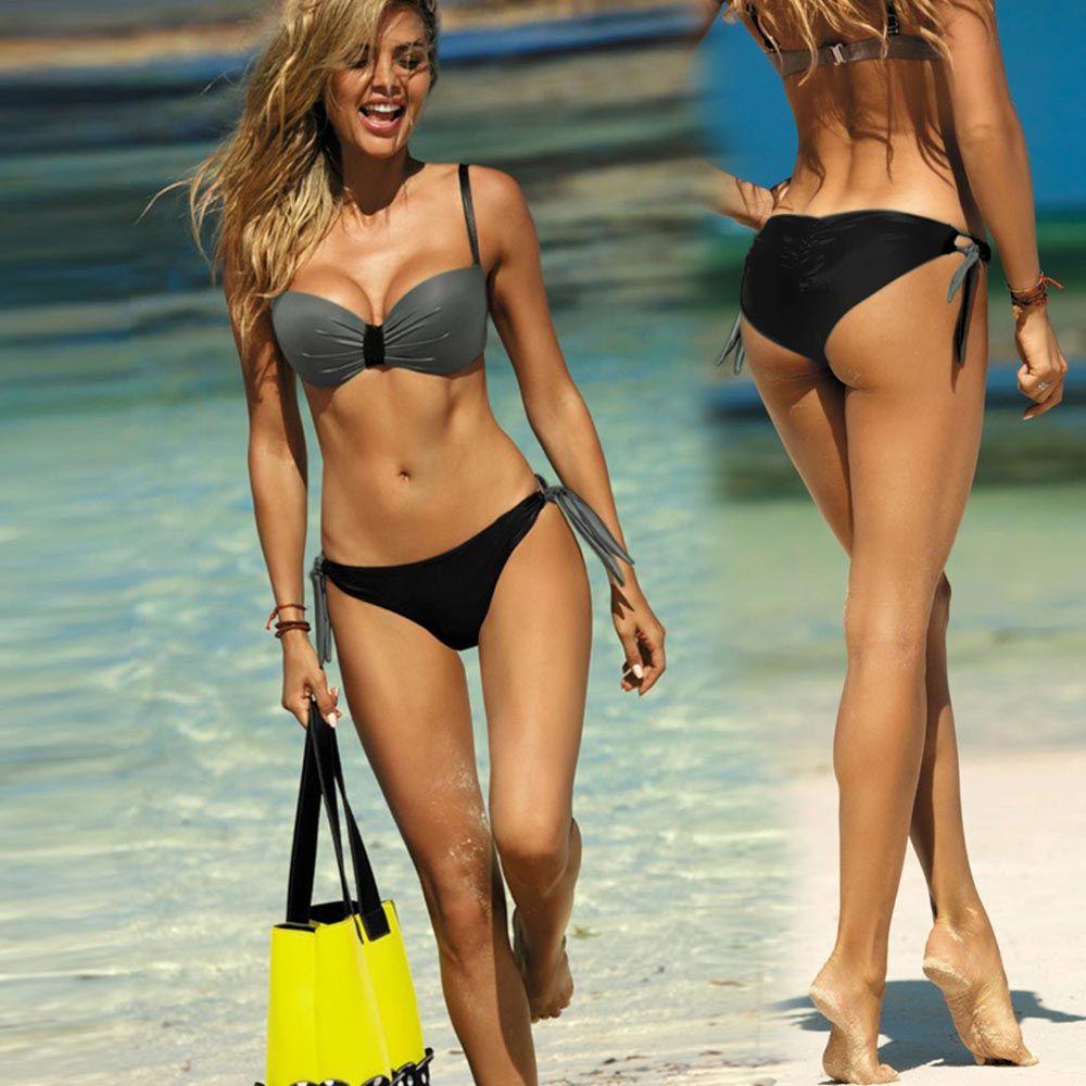Bikini Set Sexy Mature Temperament Swimwear For Woman Swimsuit Smooth Fabric Grey Black Adjustable Shoulder Straps
