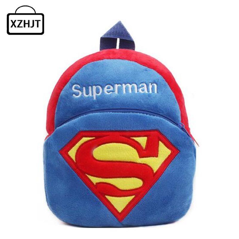 Cartoon Superman Children Plush School Bags Cute Animal Girls Boy Toddler Backpack Schoolbag Kids Baby Kindergarten Girls Gift
