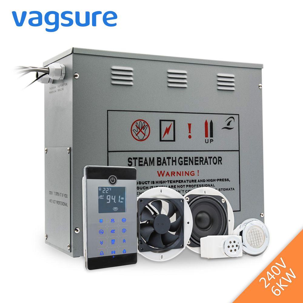 240 V 6KW Dusche Temperatur Sensor Display Dampf Sauna Generator Spa LCD Touch Bluetooth Dampf Controller Dampf Düse Outlet