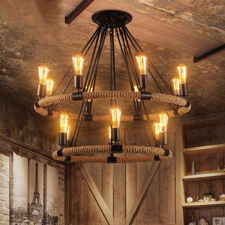 American country industrial retro Hemp rope chandelier cafe restaurant bar lamp E27 110-240V