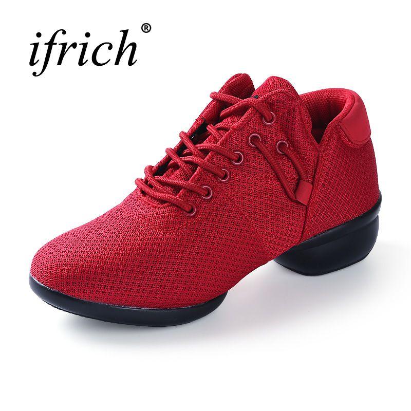 Dance Shoes Women Mesh Jazz Shoes For Women White/Black/Red Square Dance Shoes Women Lightweight Dancing Sneakers