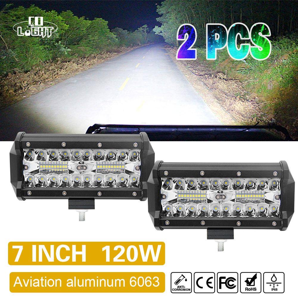 CO LIGHT 7Inch Offroad 120W LED Worklight 3-Row Spot Flood Combo Auto Led Light Bar For ATV Lada Niva 4x4 Boat Led Bar 12V 24V