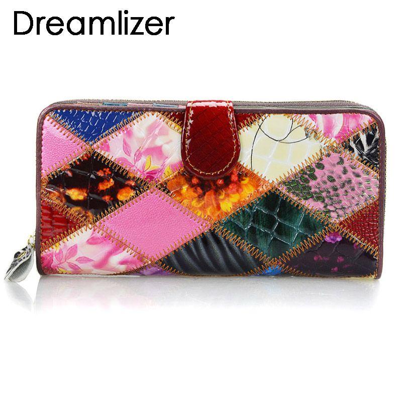 Brillant portefeuille en cuir de couleur arc-en-ciel aléatoire femmes sac à main d'embrayage pour téléphone à deux volets porte-cartes long grand sac d'argent féminin