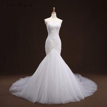 Blanc Sirène Lace up Appliques Robe De Mariée Long Train Perles Robe de mariée robe de mariée Robe De Mariage robe de noiva YY105