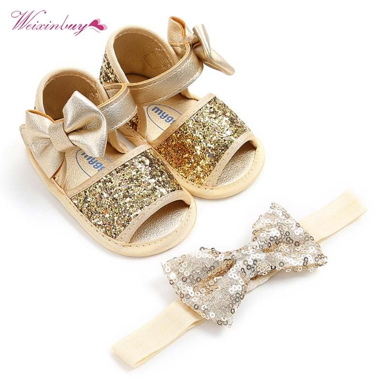 2Pcs=1Set Sequins Bow Hairband + Soft Sole PU First Walkers Ribbon Ballet Princess Baby Shoes