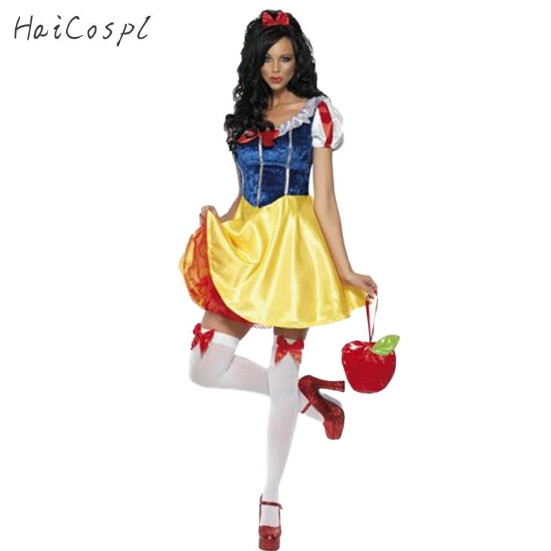 Adult <font><b>Snow</b></font> White Costume Women Cosplay Carnival Halloween Dress Girls Fairy Tale Female Fancy Dress Plus Size Party Outfit