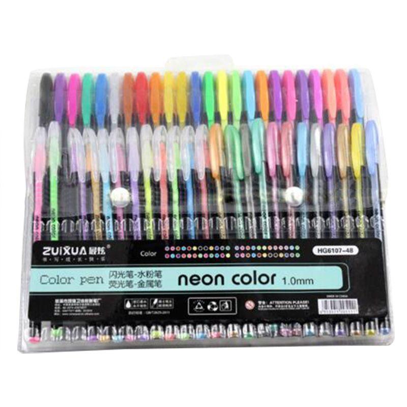 ZUIXUAN 48 Gel Pens set, Color gel pens Glitter Metallic pens Good gift For Coloring, Kids, Sketching, Painting, Drawing