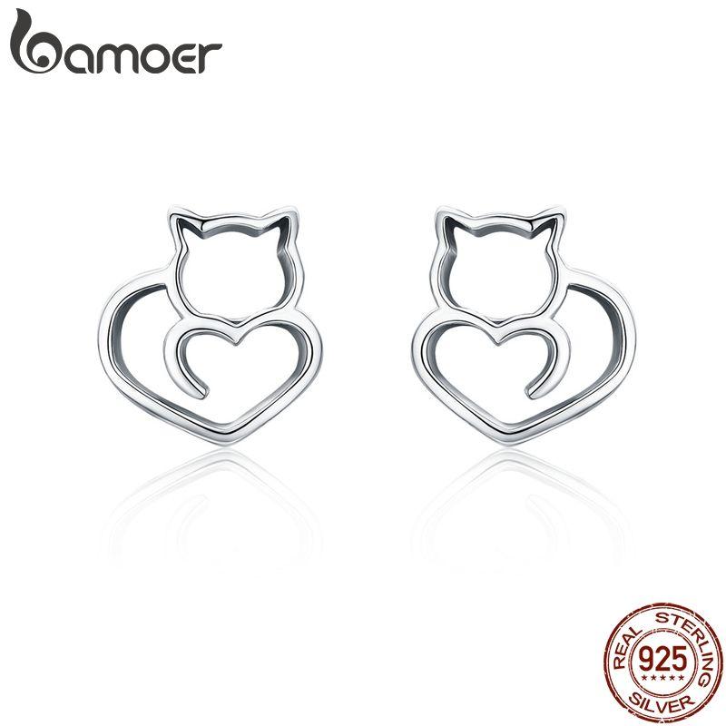 BAMOER Heißer Verkauf Authentische 925 Sterling Silber Nette Katze Kleine Stud Ohrringe für Frauen Mode Sterling Silber Schmuck SCE271