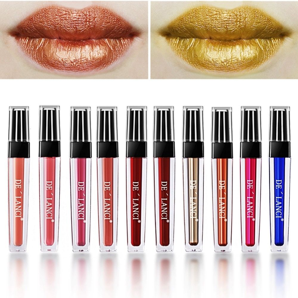 DE'LANCI 10 color Lip gloss Matte Liquid Lipstick Cosmetics Makeup Metallic Lipgloss